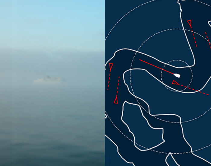 Das Angebot, Transparenz und Struktur. Auf dem Radar werden die Schiffe im Nebel transparent und die Struktur der Küste wird sichtbar
